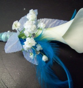 Blue Feather Calla Boutonniere