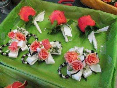 Coral Rose Corsages