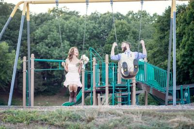 Fun Wedding Picture on Swings