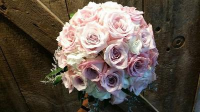 White and Pink Rose Bridal Bouquet