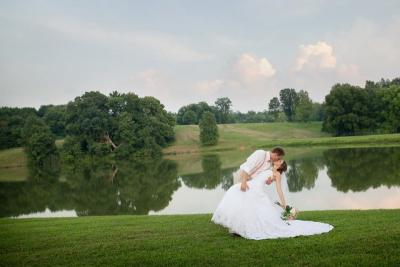 bride & groom by lake