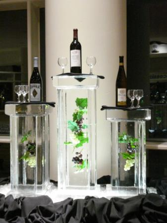 Ice Sculpture - Trio of Columns with Grapes