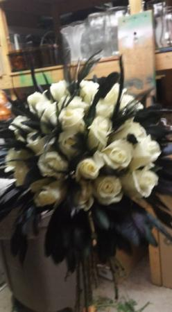 White Rose Bouquet with Feathers