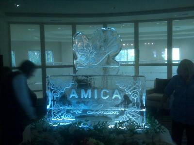AMICA Logo Ice Sculpture