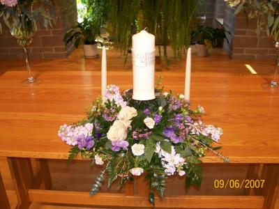 Wedding Flower Centerpiece With Ivory Candle