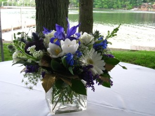 Blue And White Centerpiece Cube