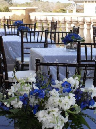 Blue and White Flower Centerpiece