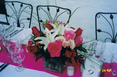 Lilies and Roses Centerpieces