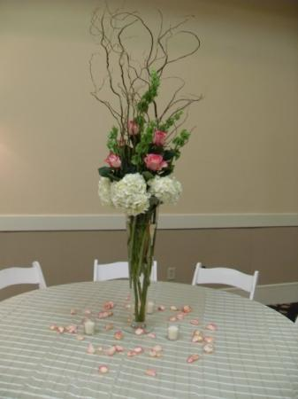 Hydrangea and Pink Rose Flower Centerpiece
