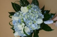 Bridal Bouquet with Light Blue and White Flowers