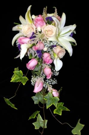 Cascading Wedding Bouquet In Whites & Pinks