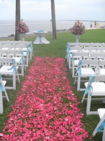 Wedding Aisle Filled With Beautiful Hot Pink Flowers