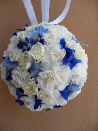 Blue and White Flower Ball Bouquet