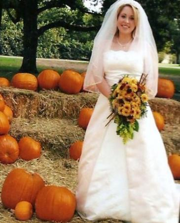 Fall Bridal Portrait With Pumpkins