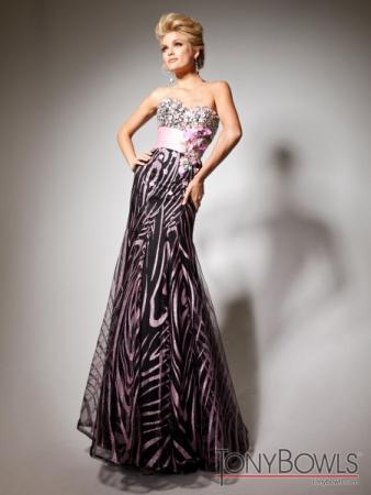 Pink & Black Printed Prom Dress