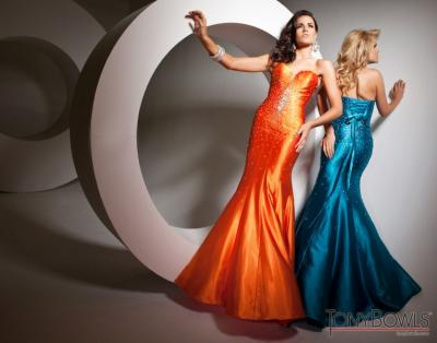 Orange & Teal Prom Dress