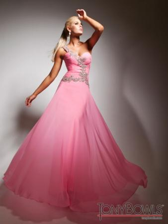 Pink One Shoulder Prom Dress