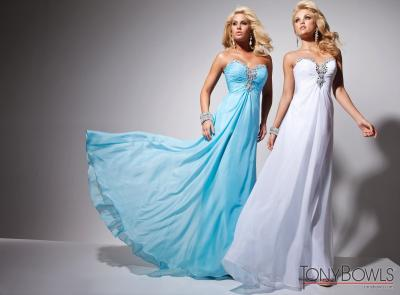 Blue & White Crystal Embellished Prom Dresses