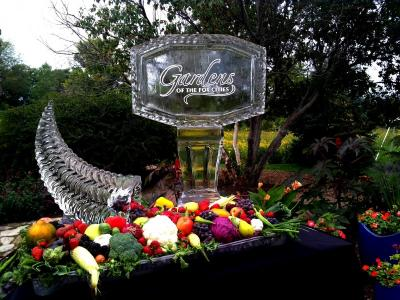 Sparkling Cornucopia with Logo Ice Sculpture for Fall Theme Party or Garden Theme Party